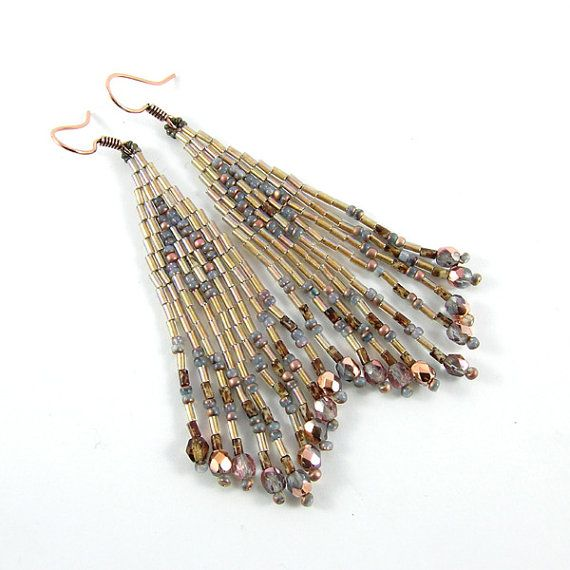 Beduin  Dangle ethnic style bugle bead earrings  by Taurieldesign