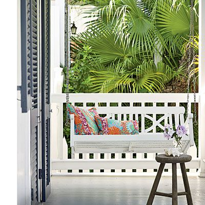 colorful key west cottage cottage front porchfront porch swingspatio - Front Porch Swing