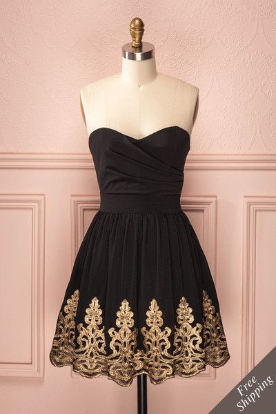Cassandre - Black bustier dress with tulle, gold lace fringed skirt