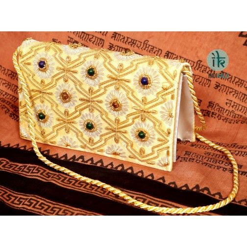 Zari Purse Cream Coloured