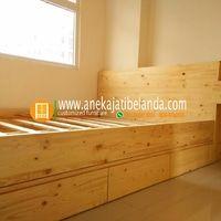 Tempat Tidur Jati Belanda, Bed size 100x200cm
