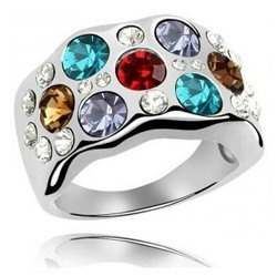 Glamorous Silver-Plated Multicolor Crystal Ring Contempo Culture