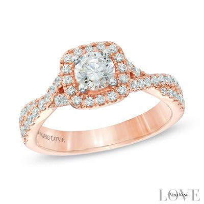 Vera Wang LOVE Collection 1 CT. T.W. Diamond Square Frame Engagement Ring in 14K Rose Gold ❤ so beautiful!!