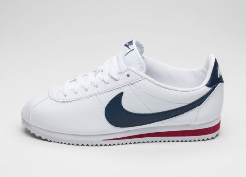 Мужские кроссовки Nike Classic Cortez Leather (White / Midnight Navy - Gym Red)