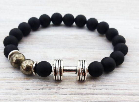 Men Dumbbell Bracelet Matte Black Onyx Bracelet by ByOliveFR #weightlifting #dumbbell