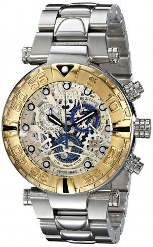 17 best images about men s skeleton watches invicta 15993 subaqua gold ion plated quartz skeleton watch for men