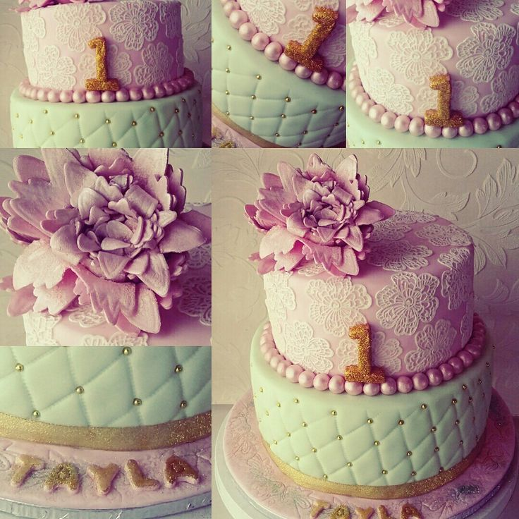 One year old cake. Pastel colours.