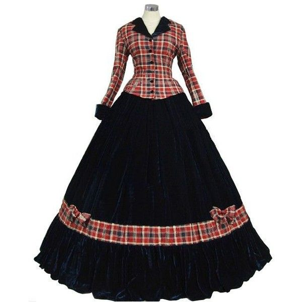 Ladies Victorian Dickensian Carol Singer School Mistress Day Costume... ❤ liked on Polyvore featuring costumes, victorian costume, womens halloween costumes, ladies costumes, disco party costumes and party halloween costumes