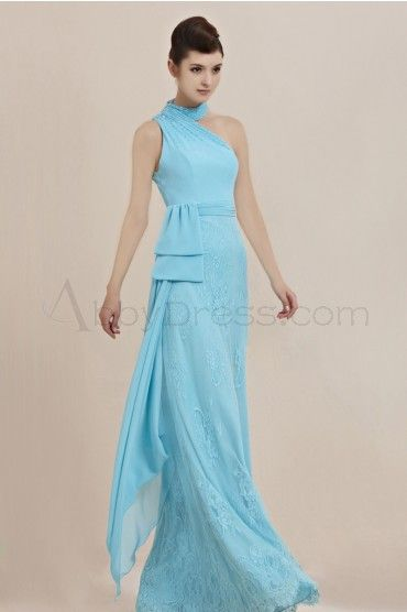 Cute Halter Sleeveless Stretch satin Evening Dresses Light Sky Blue