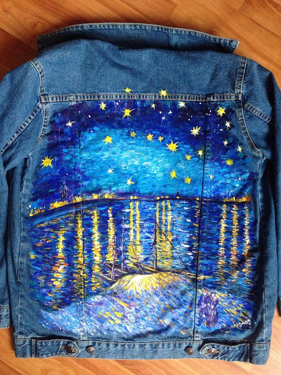 Van Gogh Starry night over the Rhone hand painted denim jacket (! Please read the description !)