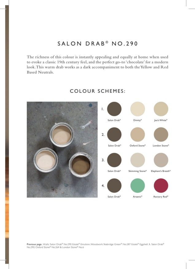 "Color schemes for ""Salon Drab № 290"" by Farrow & Ball '16."