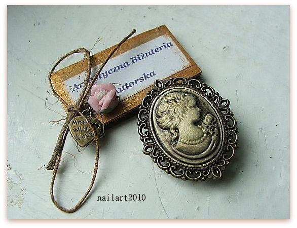 kamea retro ażurowa filigran stare złoto vintage  - nailart2010 - Biżuteria