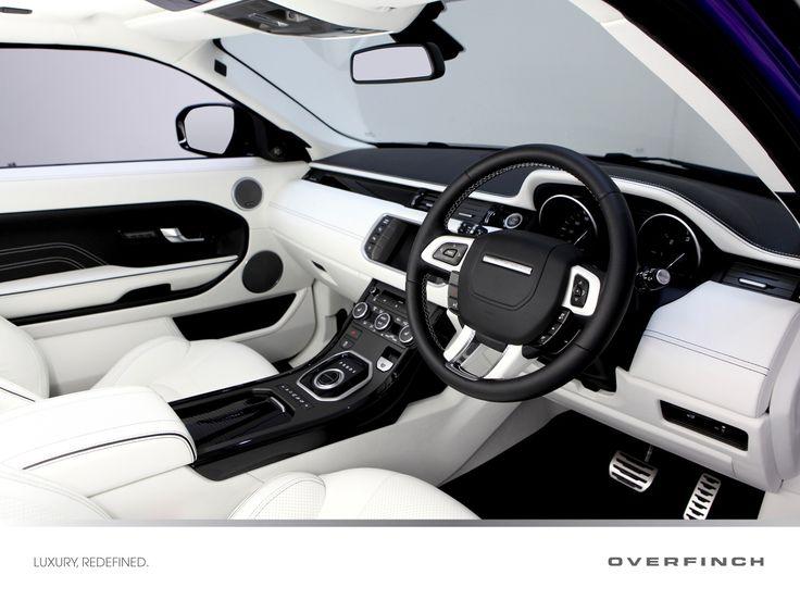 The interior of our launch car at the Goodwood Festival of Speed features full leather interior in Lotus White with contrast black details.    The veneer set is piano black and is also fitted with luxury Overfinch branded carpet mats.