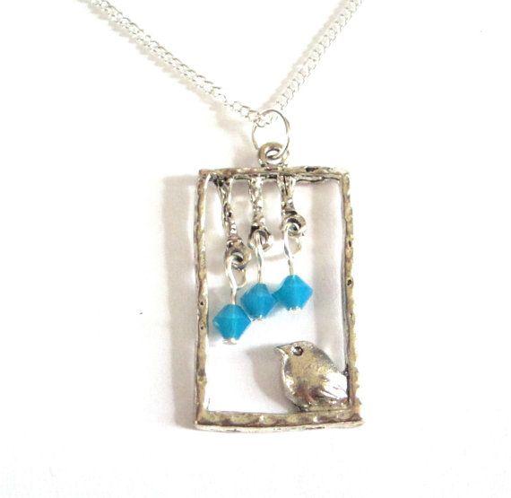 Bird with Swarovski Crystal Necklace Pendant by ViridisLuxDesign, $12.50