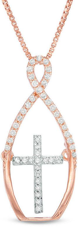 Zales 1/6 CT. T.W. Diamond Infinity with Moving Cross Pendant in Sterling Silver with 18K Rose Gold Plate