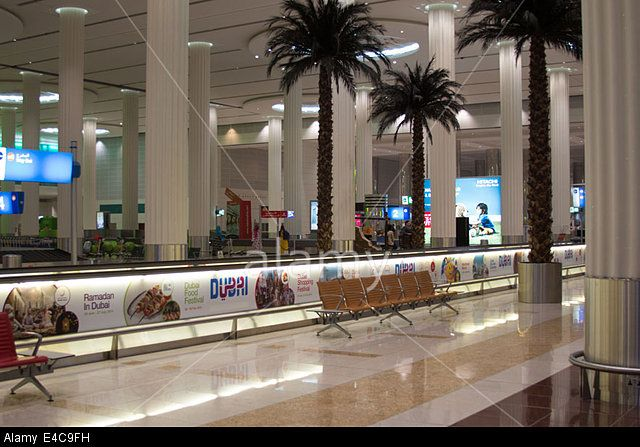 Arrival hall at Dubai International Airport Terminal 3 Stock Photo