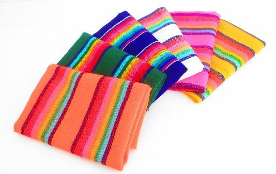 Great Half yard set of colorful, Mexican fabrics. Our striped fabrics are as bright in person as they are in the photos! These are machine woven lightweight knit fabrics and can be used for crafts, ho