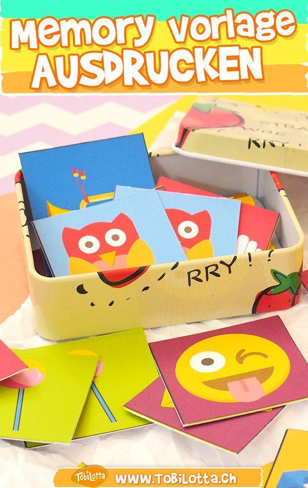Drucken Sie Die Memory Spielvorlage Und Machen Sie Es Selbst Bastelideen Memory Games Memory Diy Games