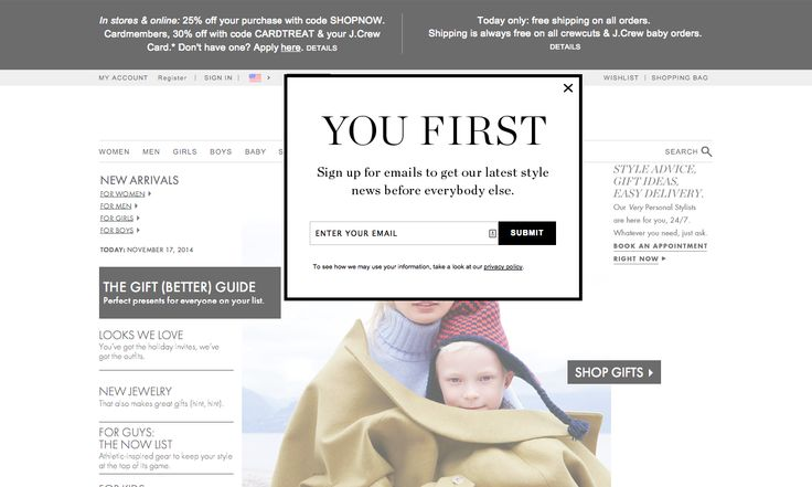 J.Crew email marketing modal popup for newsletter signup. #CTA #emailmarketing