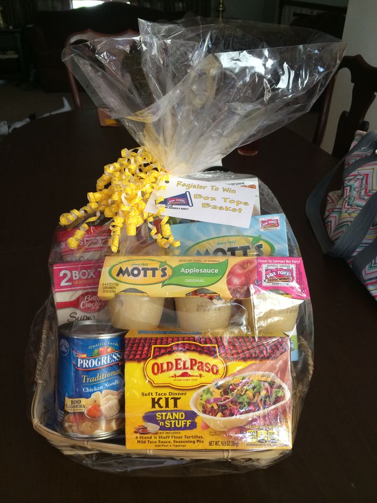 Open House raffle prize. Box Tops basket with a day of meals - breakfast, lunch, dinner, dessert & snack. Every item has Box Tops, some have two!