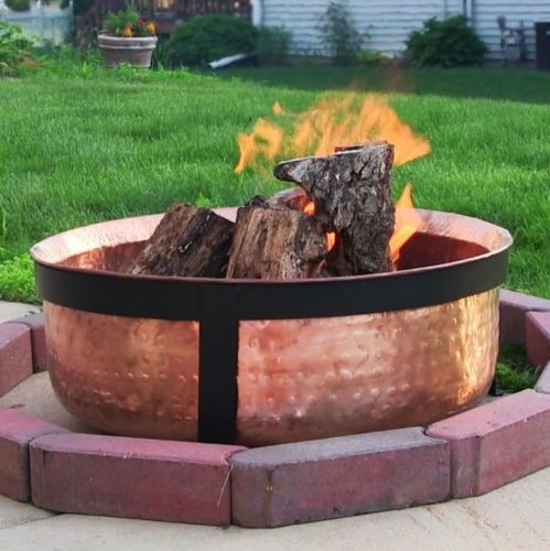Hammered Copper Fire Pit Bowl Spark Screen Poker