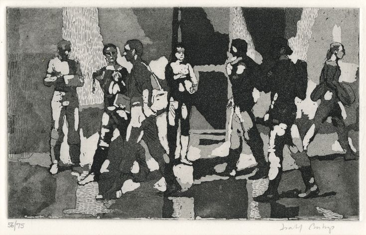 Seven Students by Isabel Bishop, etching and aquatint