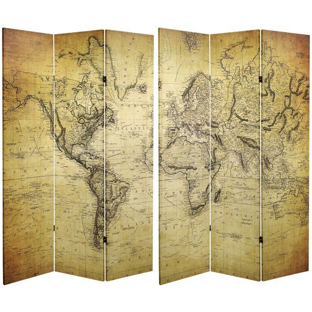 Oriental Furniture 6 Ft Tall Double Sided Vintage World Map Canvas Room Divider Printed On Canvas 3 Panel Map Walmart Com Vintage World Maps World Map Canvas Room Divider