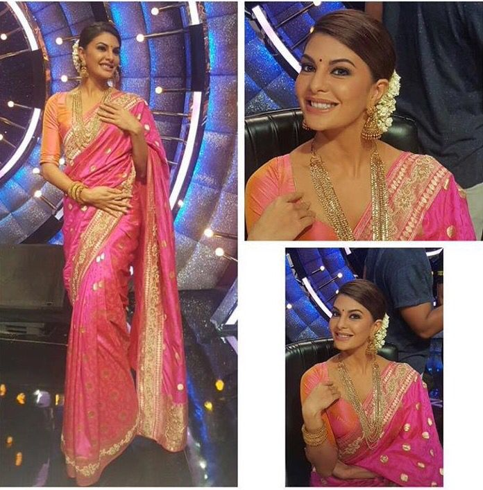 #Repost @shaleenanathani @jacquelinef143 looking glamours in JADE's Banarasi…