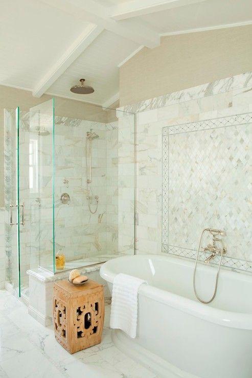 elegant bathroom in Calcutta Gold marble