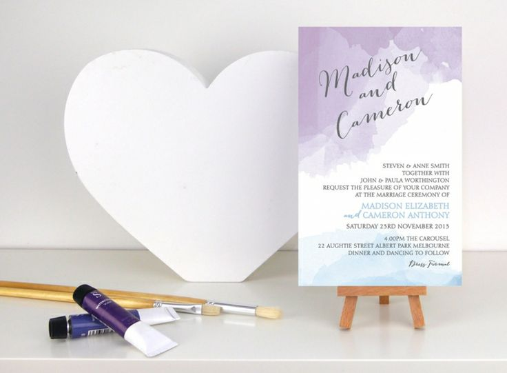 Watercolour Wedding Invitation From The Print Fairy