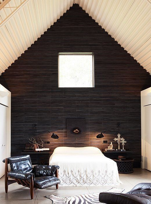 bedroom | Trend We Love: The Sexy Cabin Wipe that log-frame clunker from your mind. This house is where ebony-stained exteriors meet rustic-urbane style.