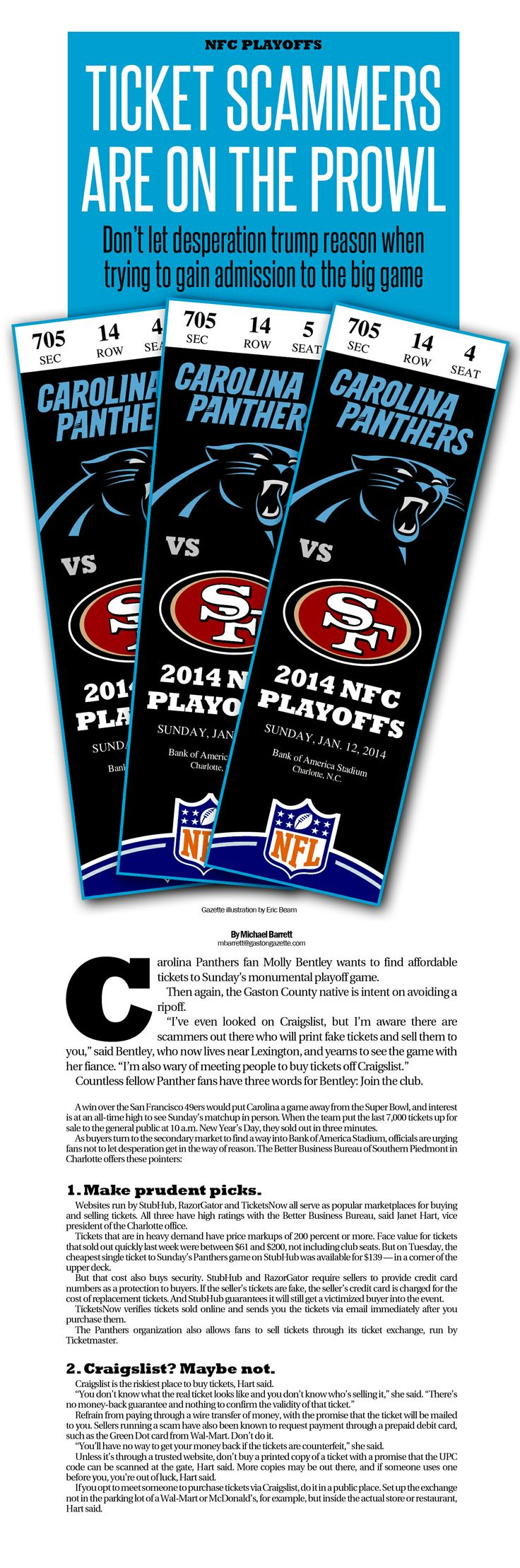 Here's a little package I worked up for a story on Carolina Panthers playoff ticket demand. And, no, those aren't real tickets, just my own illustrative creation. Perhaps I need to go into ticket design.