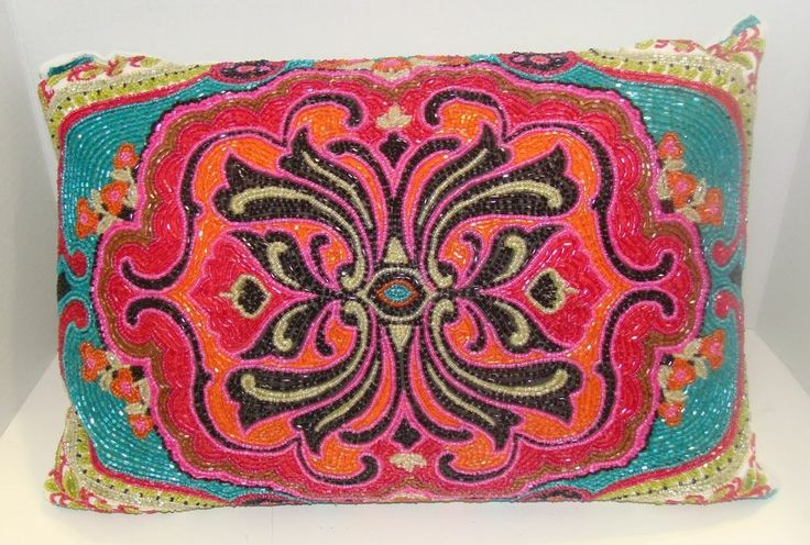 Max Studio Home Decorative Pillows : MAX STUDIO HOME Bohemian Beaded Designer Throw Pillow Multi-color Throw Pillows, Bohemian and ...