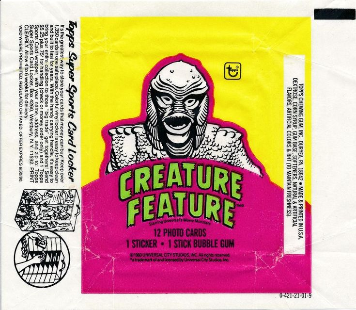 1980 TOPPS CREATURE FEATURE CREATURE BLACK LAGOON WAX WRAPPER