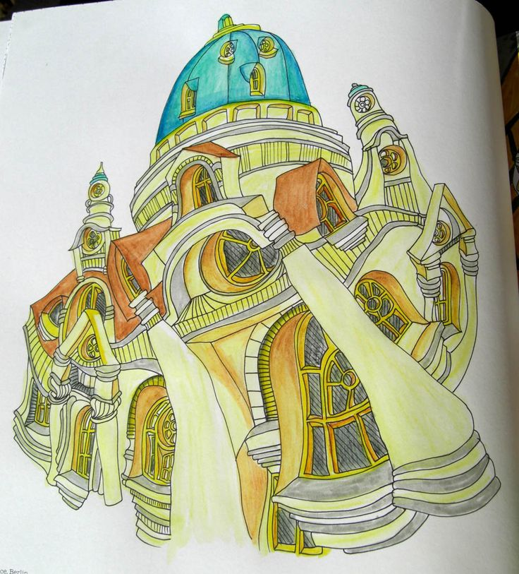 Charlottenburg Palace Coloured By Sandra Harris Coloring BooksColouringPalacesArt