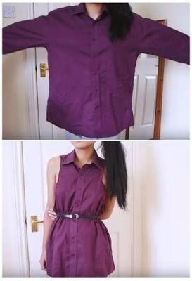 como hacer un vestido con una camisa de caballero