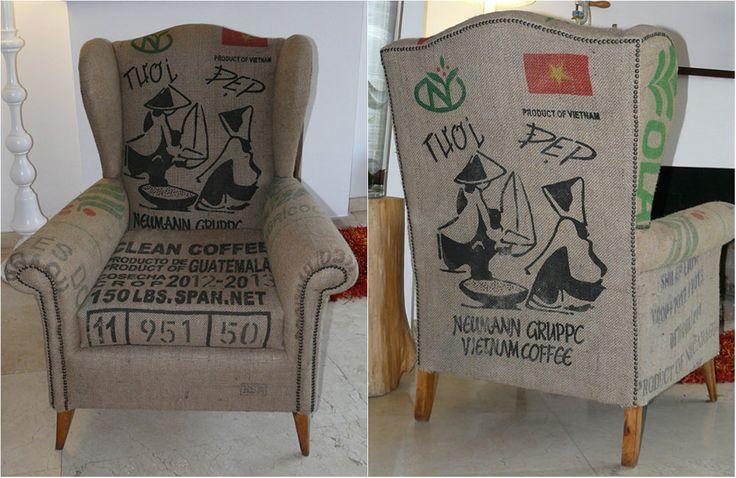 Chair covered coffe sacks. #original #armchair #upcycling