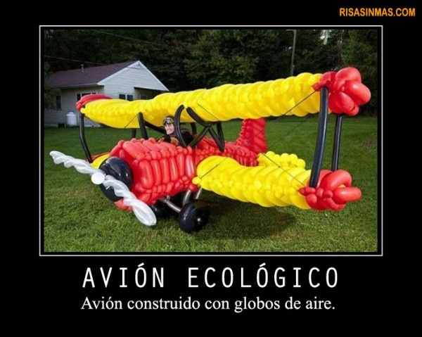 Avión ecológico  http://bit.ly/H7TTBF: Funny Pictures, Funny Picture, Funny Images, Globe, Balloons, Con Globos