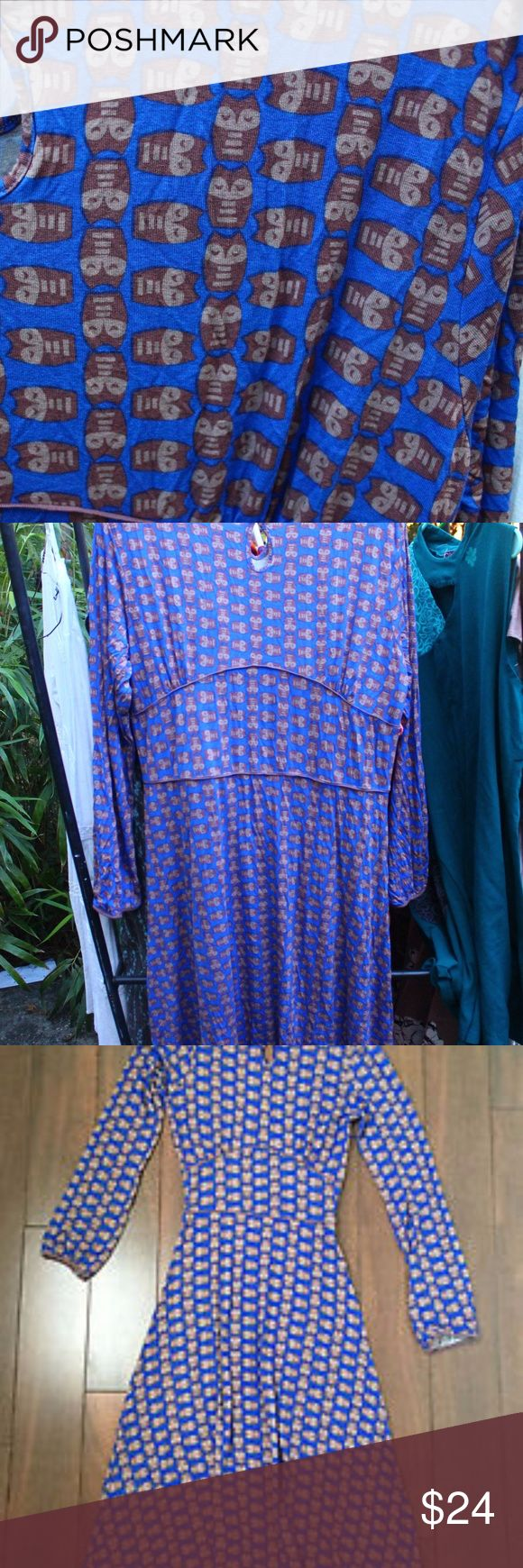 DownEast Basics Knit Owl Dress Adorable DownEast Basics Dress in an owl print, size XXL, which runs 18-20. This dress has stretch all over. The third picture is NOT mine, just one I found on the internet that shows the shape better than my pictures. EUC, no issues. DownEast Dresses Midi