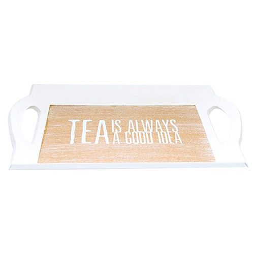 Tava Always Tea din lemn alb 27.5x16.5x2.5 cm