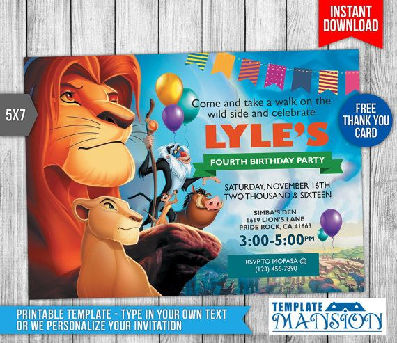 Best Birthday Invitation Templates Images On Pinterest Nd - Lion king birthday invitation template free