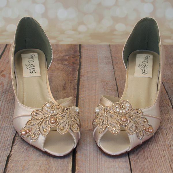 Dark Ivory Kitten Heel Peep Toe Dorsay Custom Wedding