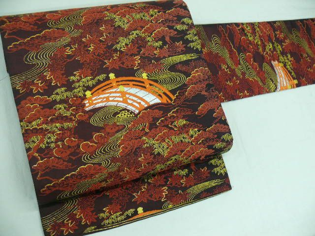 "Silk ""Nagoya-obi"" with Woven Bridge, Pine Tree, ""Momiji (Maple Leaves)"""
