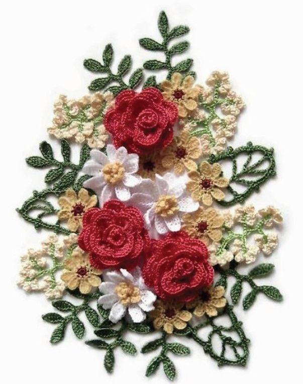 Открытка вязаные цветы