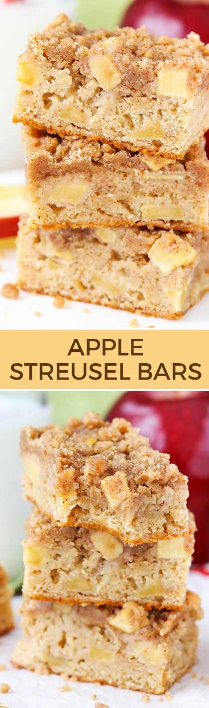Apple Streusel Bars - a moist and chewy bar with apples mixed in and streusel on top! Perfect for fall!: