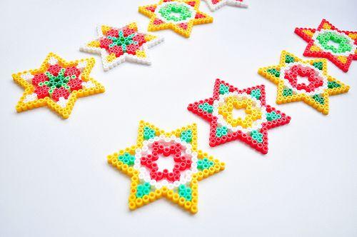 Kerststerren hama beads by Oontje