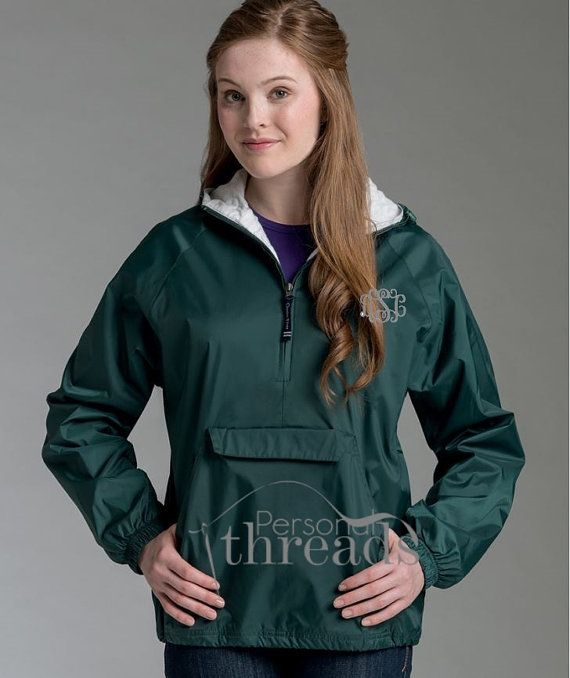 Monogram Rain Jacket Monogrammed Rain Coat by personalthreads