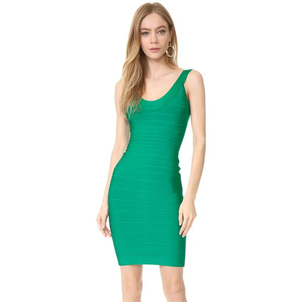 Herve Leger Sydney U Neck Dress ($785) ❤ liked on Polyvore featuring dresses, peacock green, green jersey dress, peacock green dress, rayon dress, peacock feather dress and green bandage dress