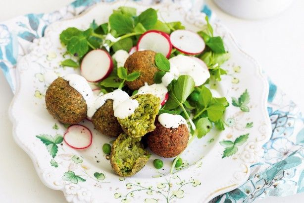 Pack heaps of flavour into falafel balls with the addition of fresh herbs and peas.