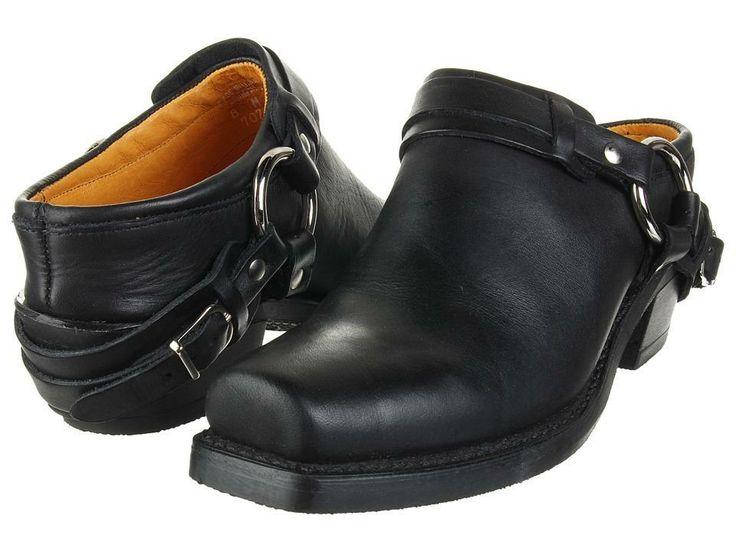 Frye Belted Harness Mule Women's Boots - Black Greasy Leather